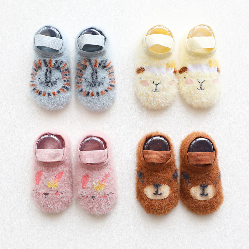 Baby Socks Anti Slip Toddler Cartoon Floor Socks Unisex Autumn Winter Suede Yarn Warmer Sock Newborn Children Soft Socks