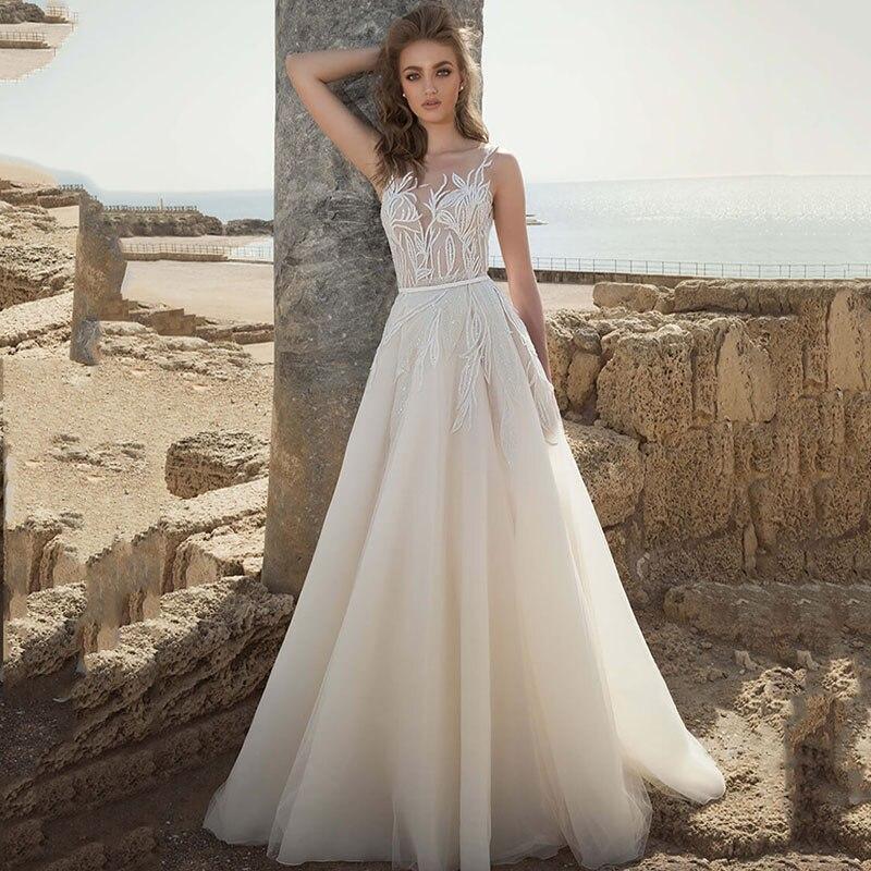 Eightree A Line Lace Wedding Dresses Boho V Neck Appliques Vestido De Noiva Bride Dresses 2020 V Back Bohomian Wedding Gowns