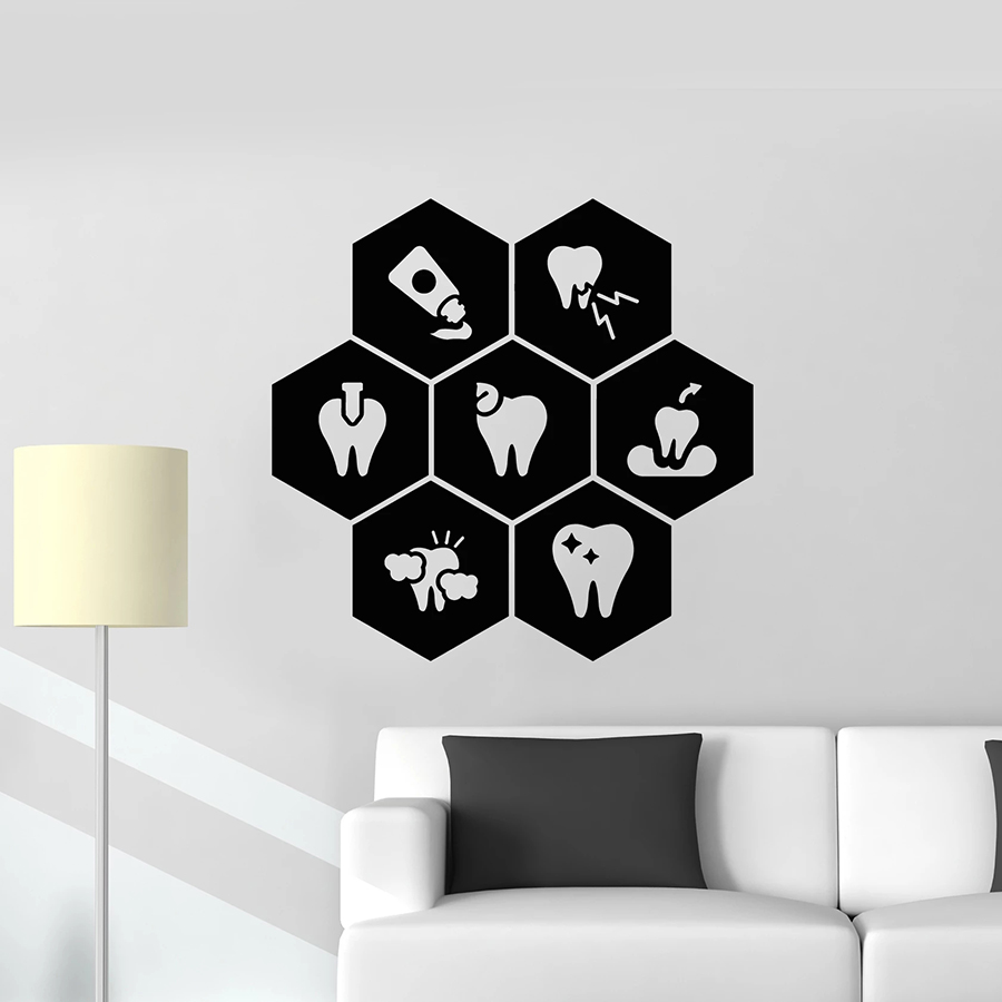 Teeth Wall Decal Dentist Clinic Care Healthy Toothpaste Dental Care Interior Decor Vinyl Window Stickers Honeycomb Mural M244(China)