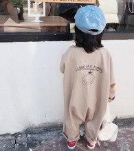 Macacão infantil de algodão, roupinha casual de manga longa para bebês, meninos e meninas, estampa traseira, macacão para escalada
