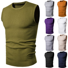 PADEGAO 2020 Spring Men's Vest Sweaters Sleeveless Warm Sweater O-Neck Casual Slim Fit Tops Solid Color Undershirt Knitted Vest