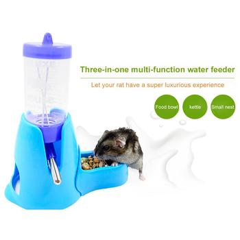 Hamster Drinker Feeder Automatic Kettle Three-in-one Feed Water Supplies Drinking Water Mini Bowl Pot Holder Water Bottle Small 1