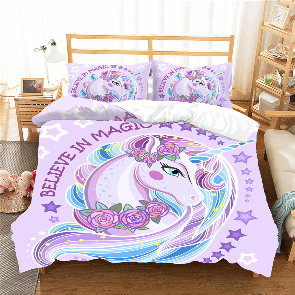 King Comforter Set Duvet Cover Bedroom Clothes Unicorn Cartoon Printed Home Textiles With Pillowcase Bed Linens
