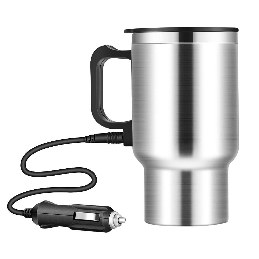 Onever 500ML 12V Car Water Keep Warmer Kettle Portable Electric Cup Kettle Travel Coffee Mug With Cigar Lighter Cable For Winter