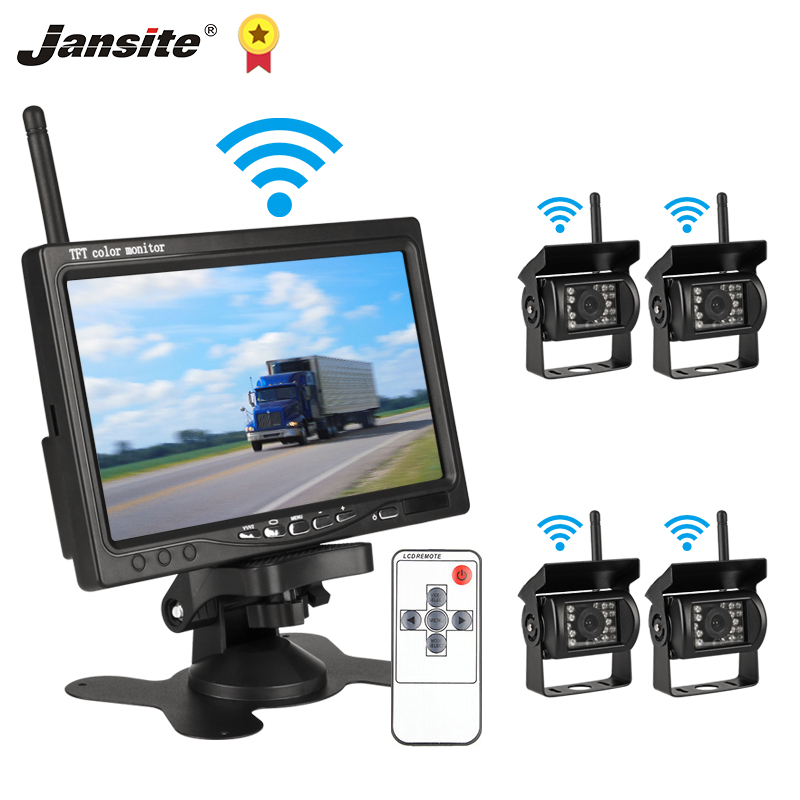 Jansite 7inch Wireless Car monitor TFT LCD Four Car Rear cameras Monitor Parking Rearview System for Backup Camera Use for truck