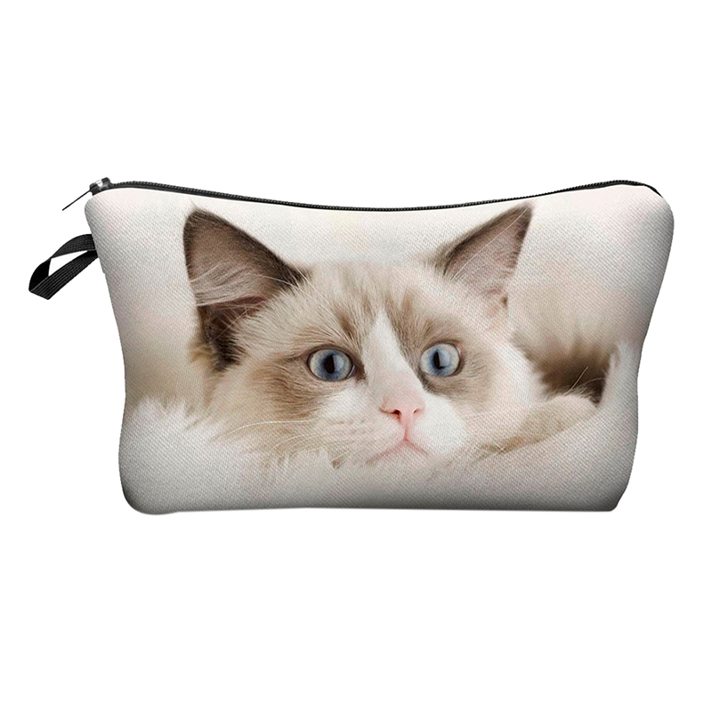 Cute Pattern Pouch Travel Case Cosmetic Makeup Bag (Beige Cat)