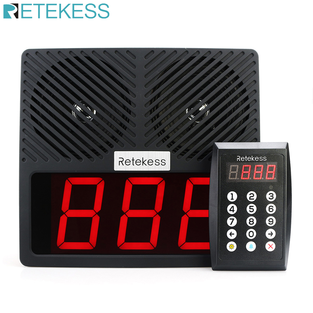 RETEKESS TD101 Restaurant Keypad Pager 433MHz Wireless Calling Paging System With Loudspeaker LED Display For Bank Hospital