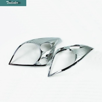 Tonlinker 2 PCS DIY Car styling ABS Chrome Front headlight frame Cover Case Stickers for Toyota Prado 2003-09 Parts Accessories