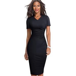 Image 3 - Nice forever Vintage Elegant Solid with V neckline vestidos Business Party Bodycon Slim Women Work Dress B579