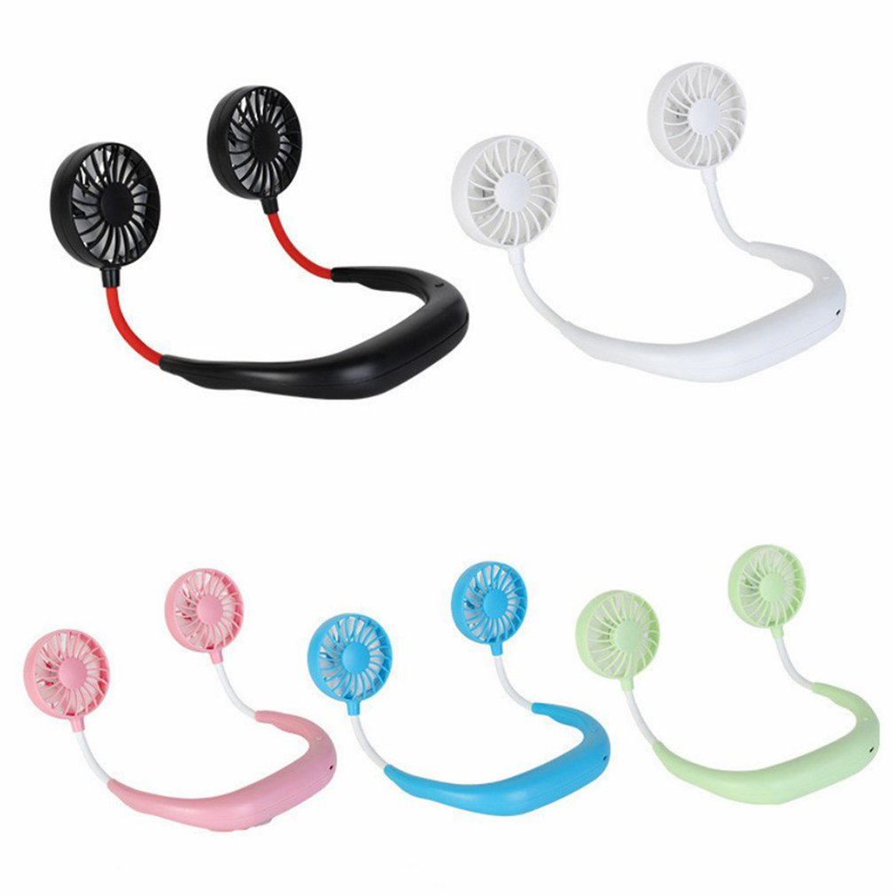 Summer Hands-free Neck Band Hanging Usb Rechargeable Dual Fan Mini Air Cooler Portable Speed Adjustable