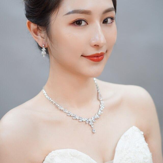 CWWZircons 4 Uds brillante cúbico pendientes y collar con circones anillo y pulsera joyería nupcial de la boda establece vestido accesorios T344 2