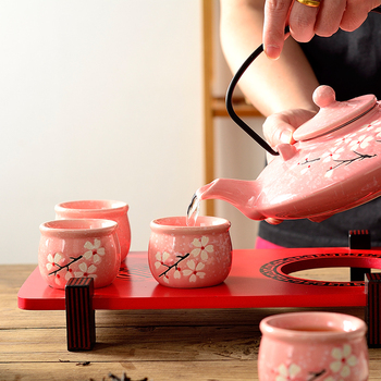 Japanese tea set hand painted pottery household living room sakura cherry teapot teacup wedding gift teaware with tray