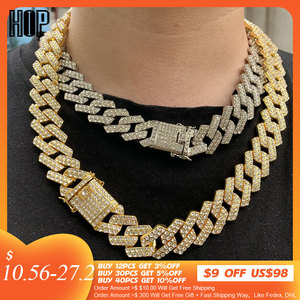 Hip Hop 1Set 20MM Gold Heavy Miami Prong Full Iced Out Paved Rhinestones Cuban Chain CZ Bling Rapper Necklaces For Men Jewelry
