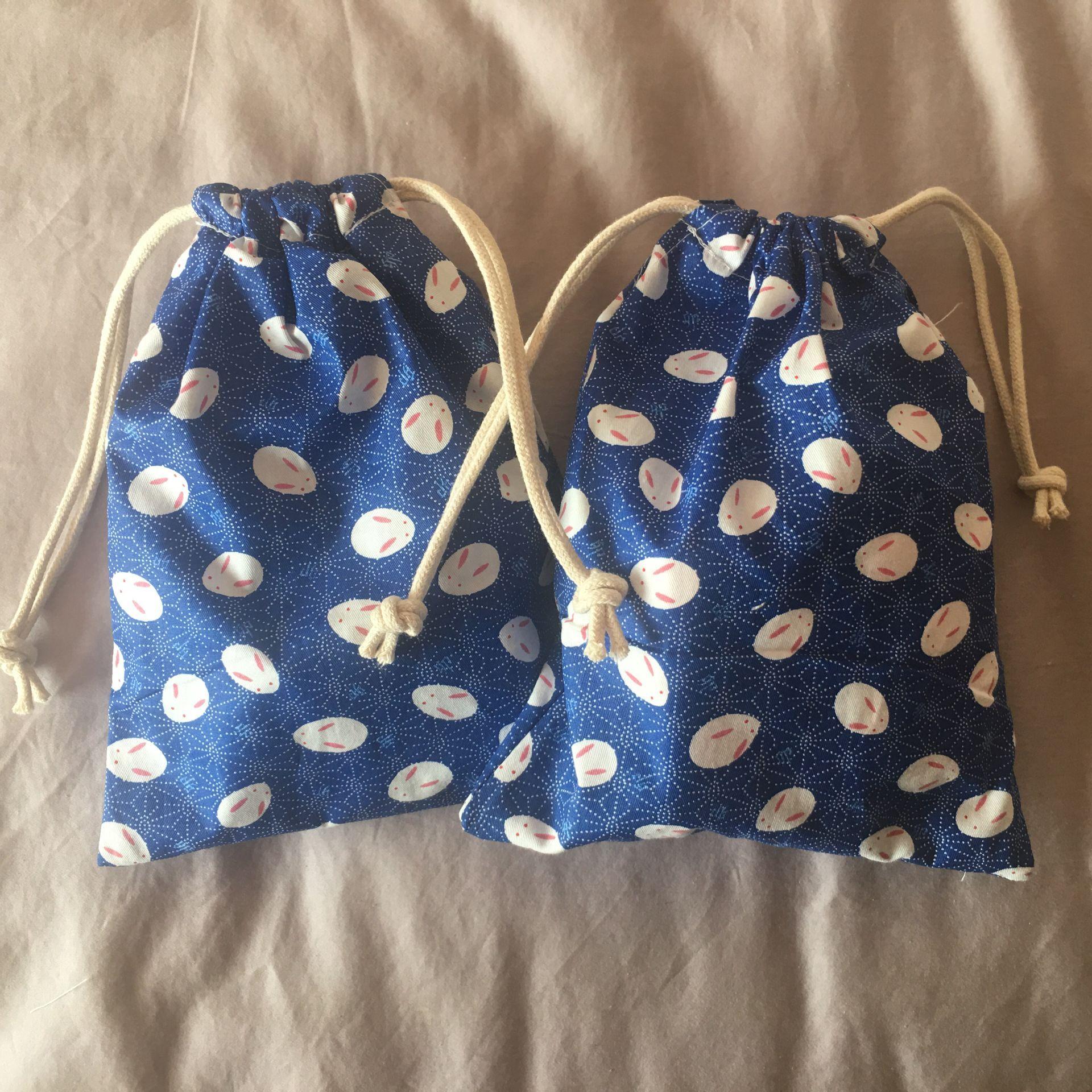 Cotton Drawstring Pouch Home Organized Party Gift Bag Chinese Zodiac Rabbit Head Blue 20312b