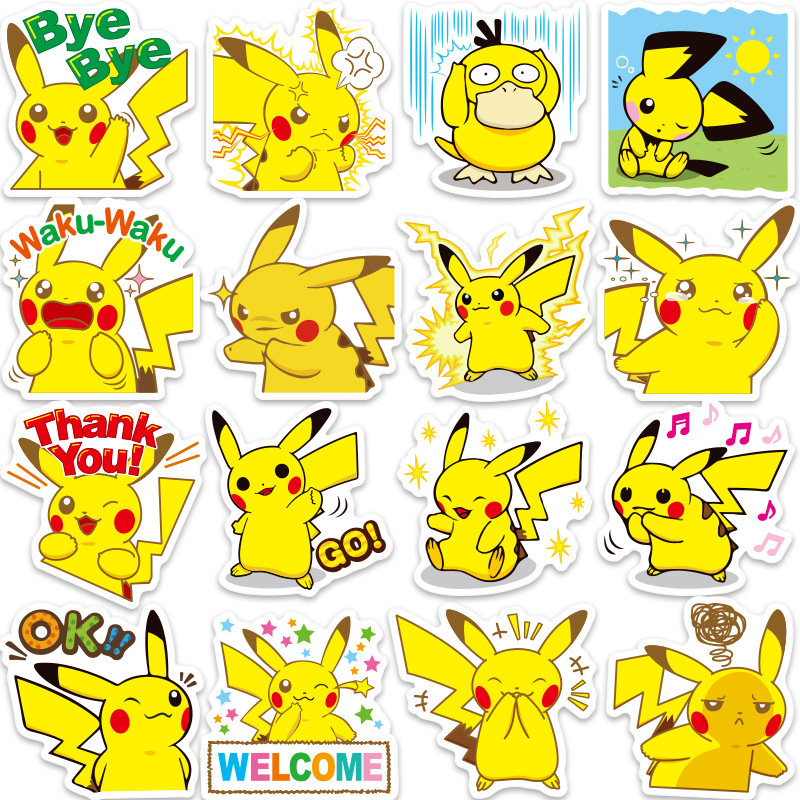 80 Pcs Stickers Pikachu Pet Pocket Monster Cartoon Anime Waterproof Sunscreen Sticker For Notebook Luggage Car Decor Girl Gift