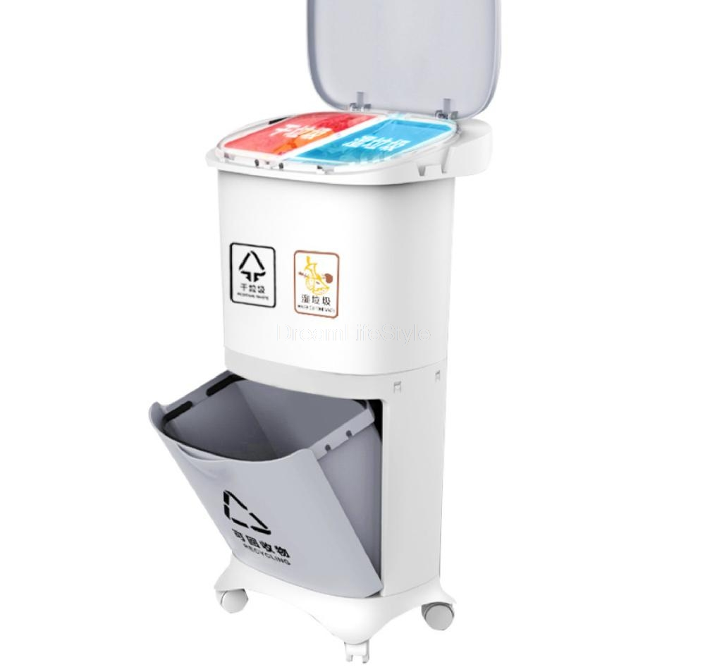 2/3Layer Wet and Dry Classification Trash Can Kitchen Plastic Dustbin Push Button Recycle Stacked Sorting Rubbish Bin With Wheel