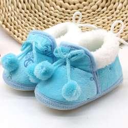 Китайская Милая зимняя хлопковая обувь для маленьких мальчиков и девочек теплая плюшевая обувь для детей 0-18 месяцев # E