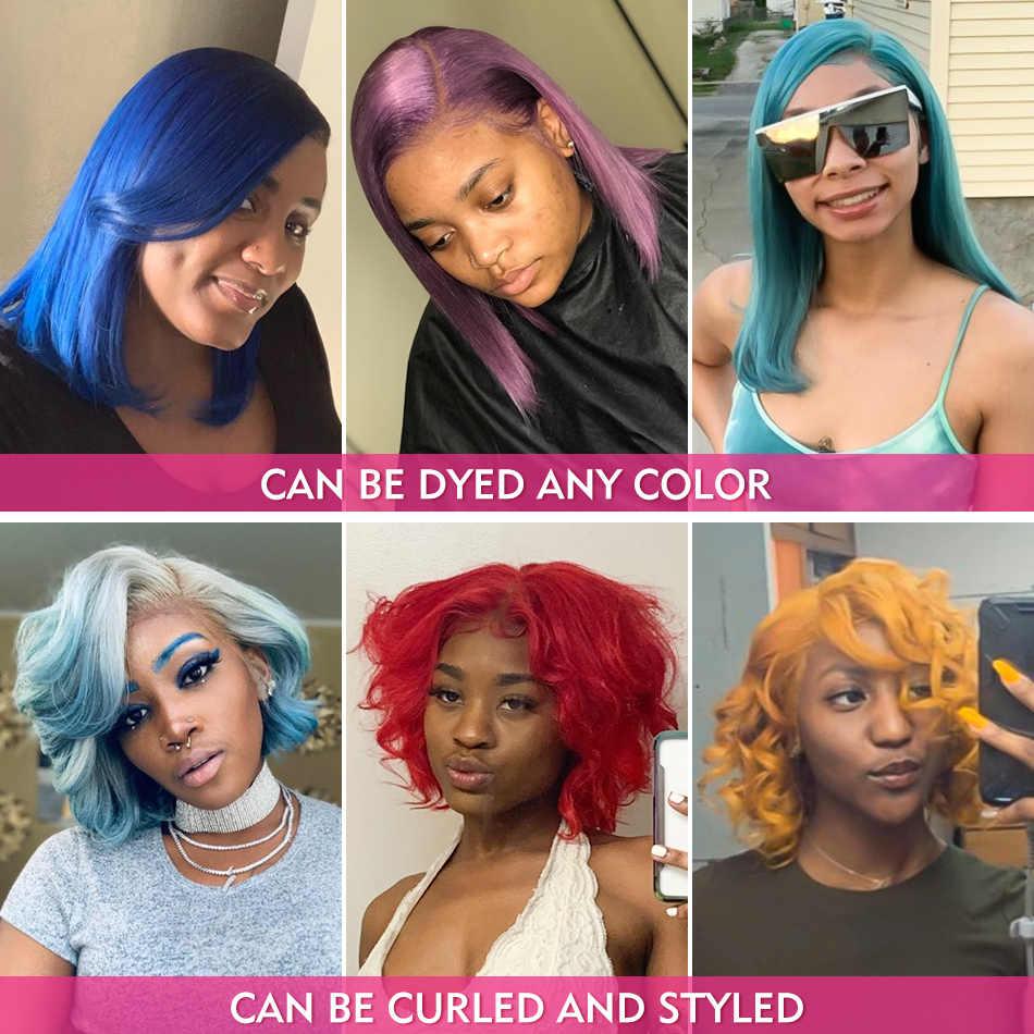 Luvin zamknięcie peruka 613 blond 13X4 HD przejrzyste koronki przodu włosów ludzkich peruk prosto brazylijski krótki Bob Frontal peruka czarna kobieta