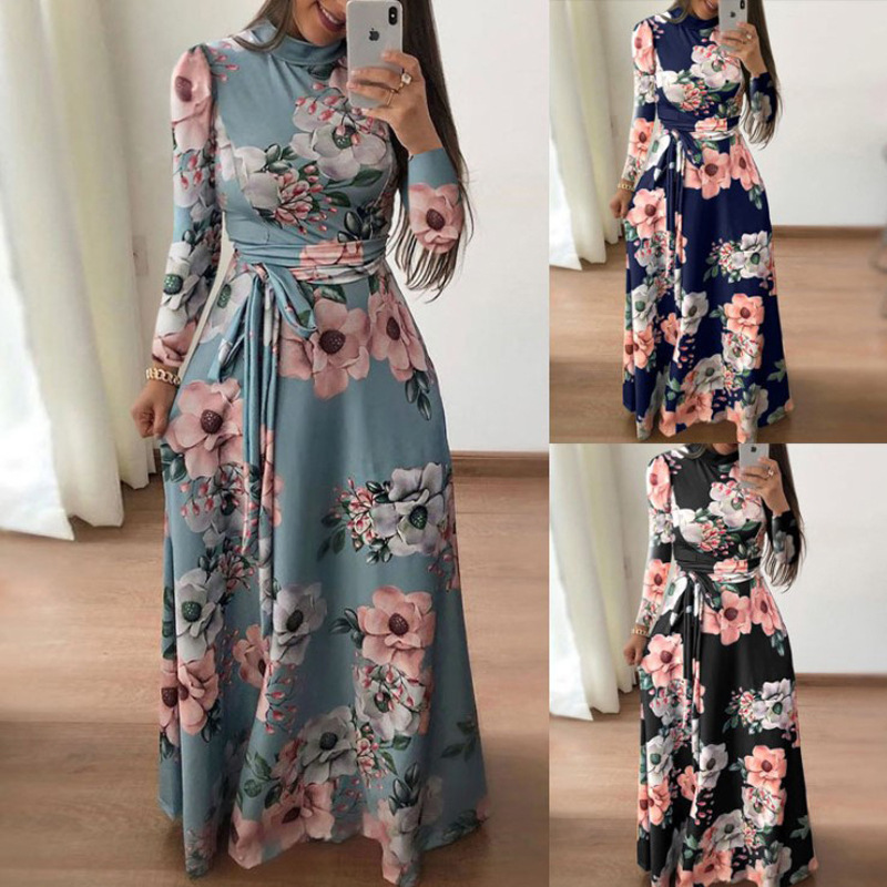 Women Autumn Printed Lace Up Long Dress Ladies Cloth