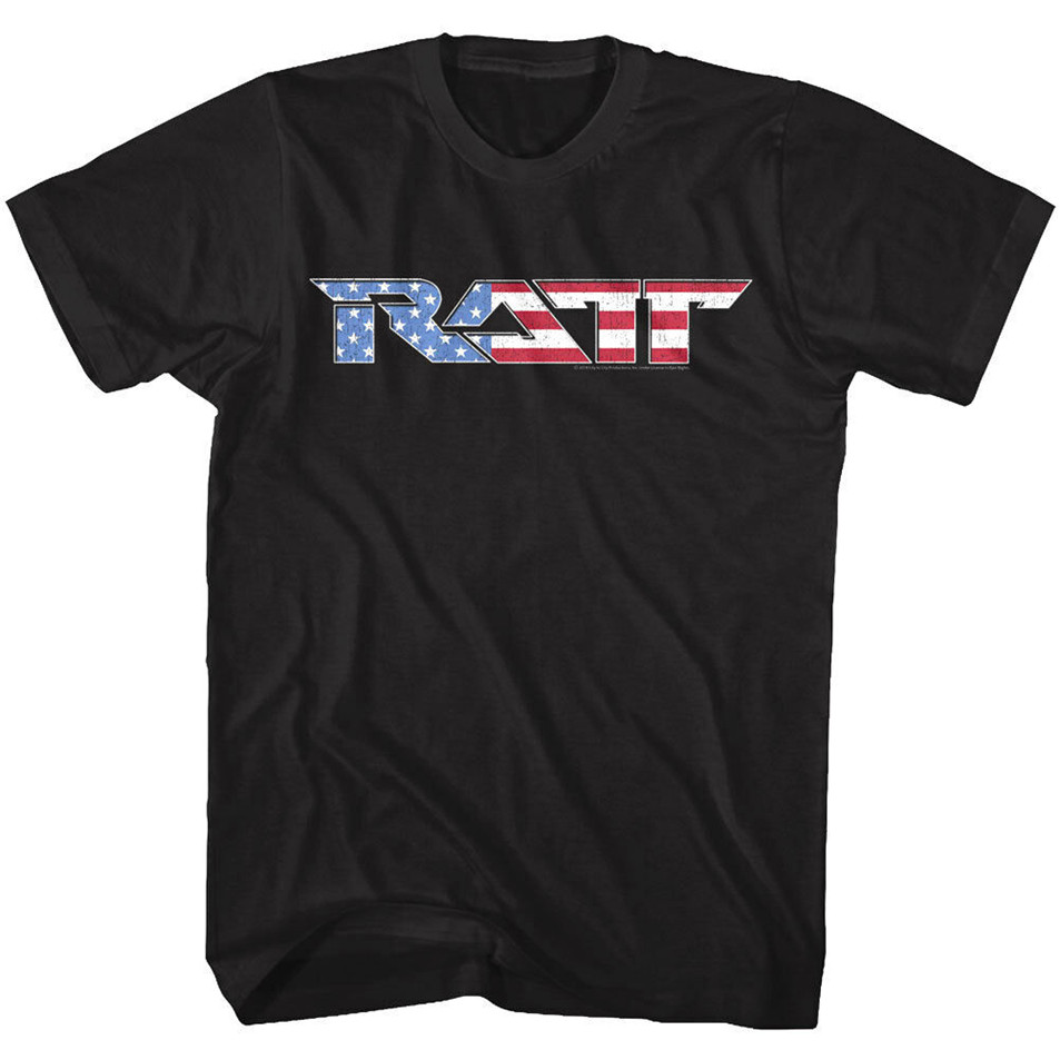 <font><b>Ratt</b></font> Rock Band Usa Flag Logo <font><b>Mens</b></font> <font><b>T</b></font> <font><b>Shirt</b></font> America Concert Tour Heavy Metal Merch Retro Tee <font><b>Shirt</b></font> image