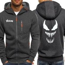 Осень, мужская толстовка с капюшоном Venom Superhero, куртки на молнии, уличная одежда, повседневное пальто с капюшоном Marvel, мужские толстовки, флисовая куртка с капюшоном