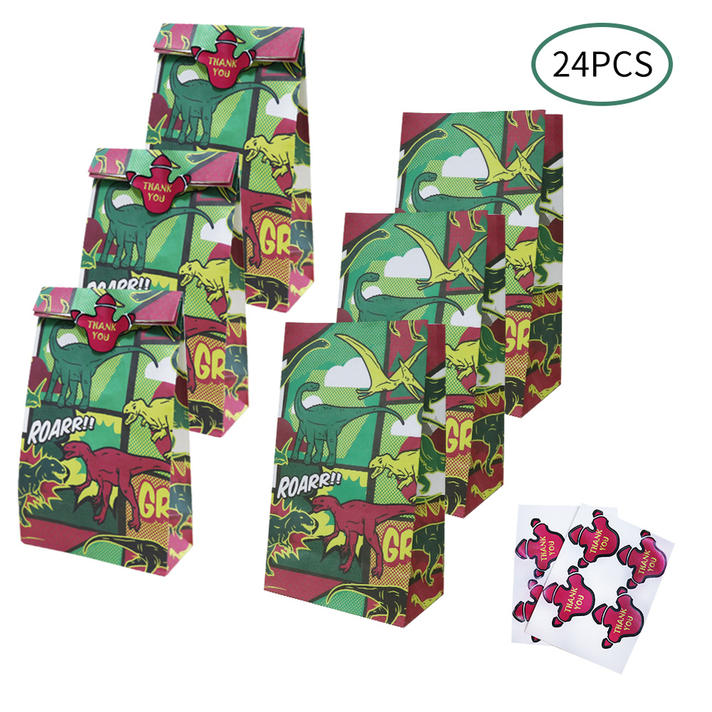 OHEART 24pcs/lot Dinosaur Party Favor Bags Candy Treat Box Kid Gift Bags Animals Birthday Party Decoration Event Party Supplies