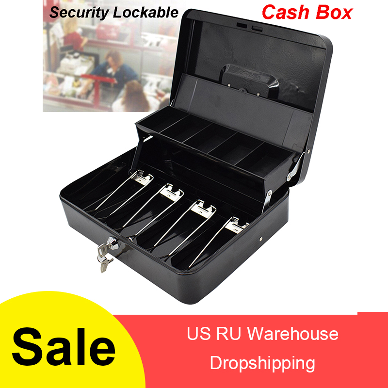 Portable Security Lockable Cash Box Tiered Tray Money Drawer Safe Storage Black Storage Cash Box