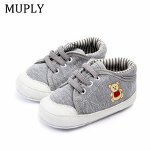 Newborn Infant Baby Boys Shoes Soft Sole Rubber Sole Non-Slip Crib Shoes Cute Animal Bear Spring Warm Booties