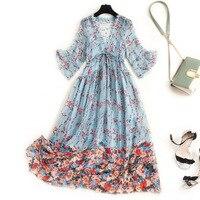 Women real silk dress plus size lace trim V neck high waist elegant flare 3/4 sleeve floral dresses blue pink