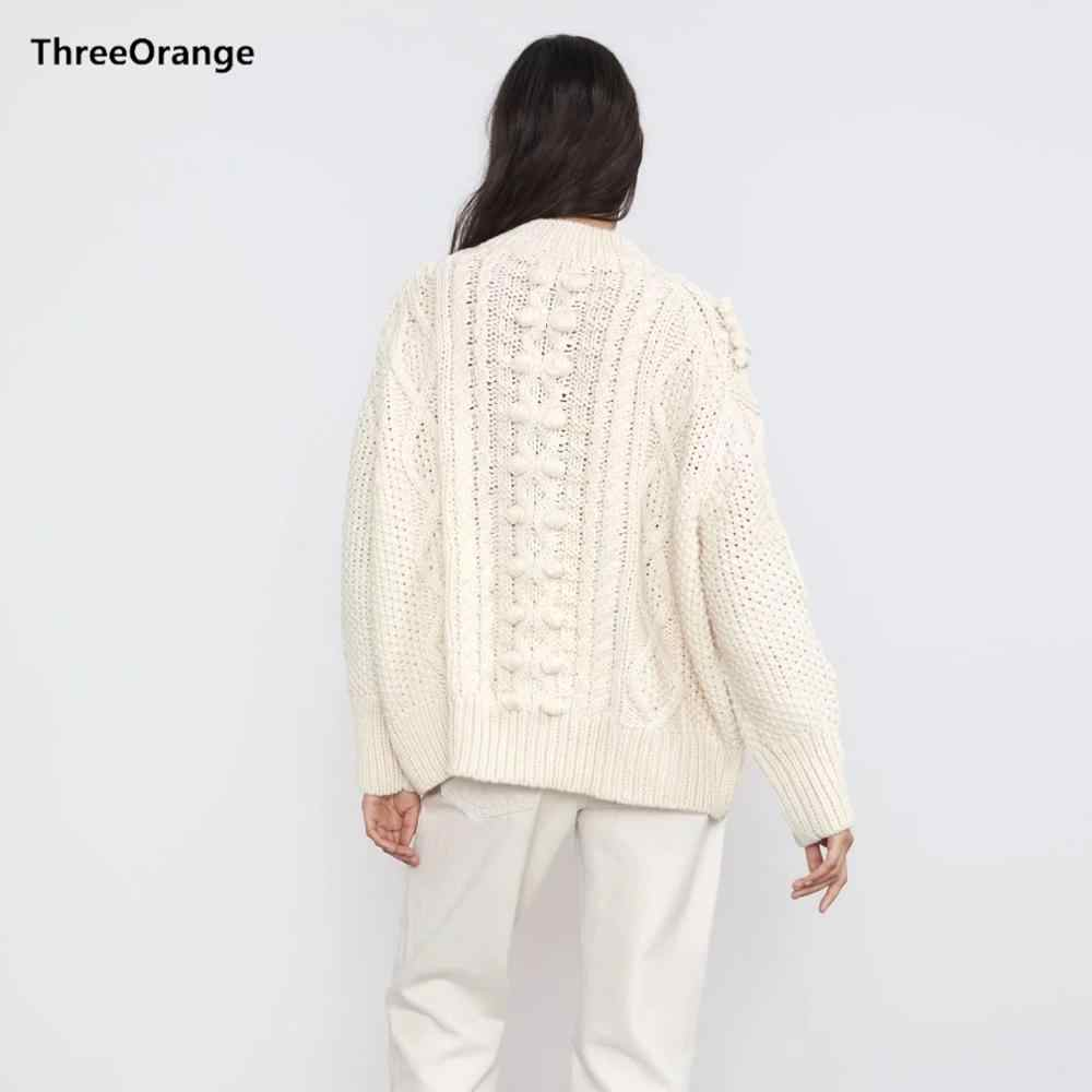 ZA 새로운 겨울 가을 흰색 니트 스웨터 여성 풀오버 캐주얼 느슨한 스웨터 여성 점퍼 의류 여성 저지