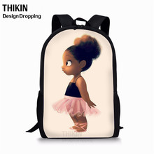 THIKIN Girls School Bags African American Black Art Printing Baby Toy Kids Schoolbag Custom Logo Kindergarten Students Bookbag