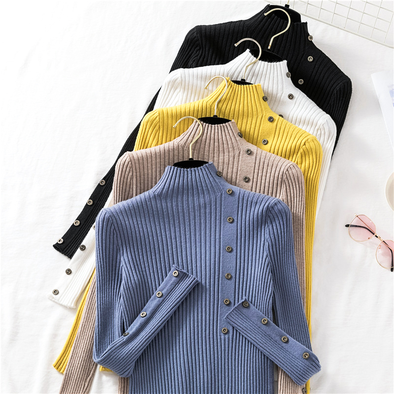 2019 TOPPICK  Autumn Fashionable New Women Sweater Slim Soft  Jumper  Sweater  Button Decoration Knitted Shirt For Women