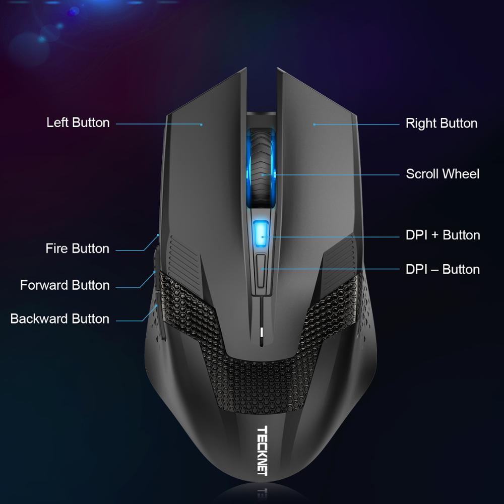 Image 5 - TeckNet 4000DPI Optical Ergonomic Wireless Gamer Mice Computer Wireless Gaming Mouse Mini USB Mouse Gamer For PC Laptop-in Mice from Computer & Office