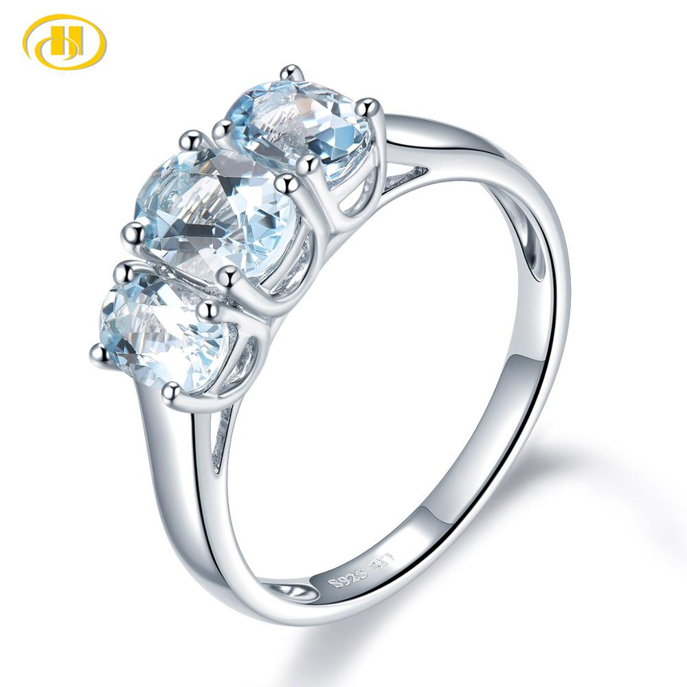 Hutang 1.59ct Natural Aquamarine Wedding Ring Solid 925 Sterling Silver Blue Gemstone Rings Fine Elegant Jewelry For Women New