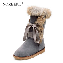 NORBERG winter warm snow boots fashion rabbit fur leather boots round head Knee-High platform  high heel women shoes size 34-43