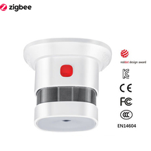 Zigbee Smoke Detector Smart Home System 2.4GHz High Sensitivity Safety Prevention Sensor Work With Smartthings
