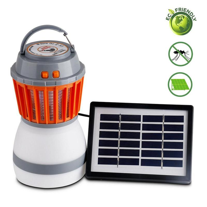 Solar Powered Mosquito Killer Lamp Ip67 Outdoor Camping Waterproof Usb Rechargeable Led Anti Insect Fly Killing Trap Tent Light