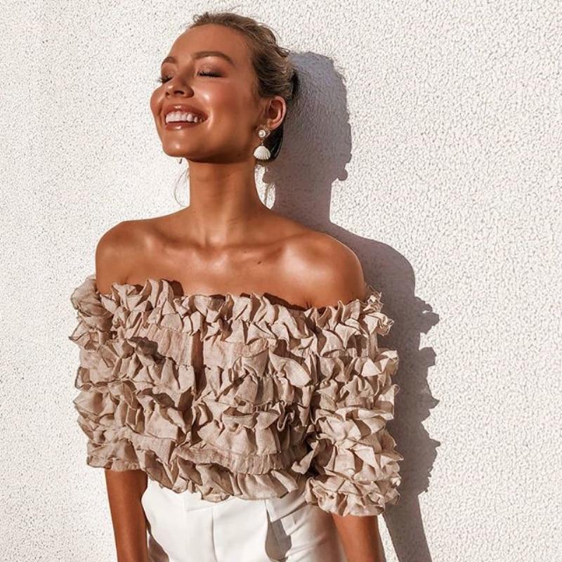2019 Womens Fashion Blouses Off Shoulder Lace Petal Floral Cropped Tops Shirts Three Quarter Lantern Sleeve Slash Neck Blouses