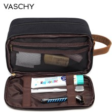VASCHY Vintage Toiletry Bag Water Resistant Leather Canvas Dual Compartments Travel Kit Shaving Dopp Kit Portable for Men Women(China)