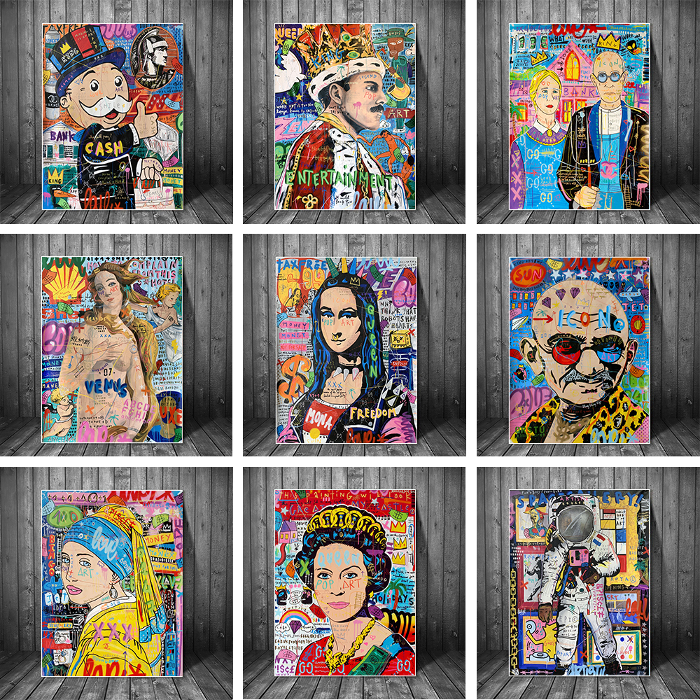 Граффити Мона Лиза монопольное искусство холст печать живопись абстрактная фигурка Настенная картина гостиная домашний декор плакат