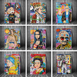 Graffiti Mona Lisa Monopoly Street Art Canvas Print Painting Abstract Figure Wall Picture Living Room Home Decoration Poster