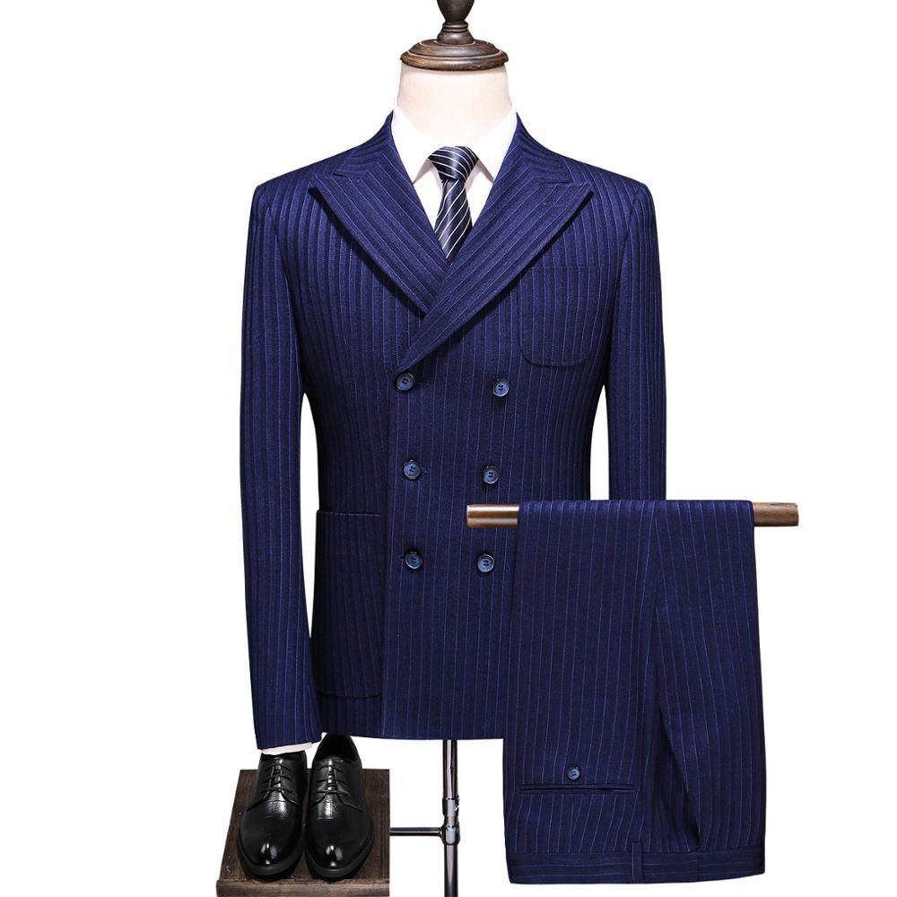 Double Breasted Striped 3 Piece Suit Men 2019 Korean Deep-blue Slim Fit Wedding Man Suits Business Blazers Pants Vest Big Size