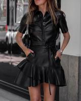 Dress Women Detail Ruffle Short Sleeve Bodycon Sashes PU Leather Dress Autumn 2019 Slim Fit Black Deep O Neck Skinny Dresses