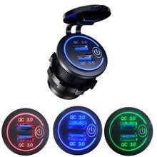 12 24V Qc 3.0 Touch Schakelaar Waterdichte Universele Motorfiets Auto Vrachtwagen Boot Dual Usb Charger Socket Voor Telefoon tablet Camera