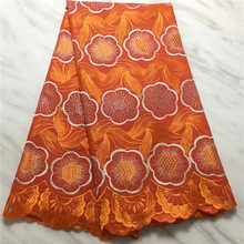 Factory price2019 Latest Style African dry Lace Swiss With stones Fabric For Party Dresses lace Winn568t Organge