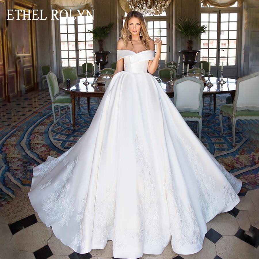 ETHEL ROLYN Ball Gown Wedding Dress 2020 Elegant Satin Sweetheart Lace Appliques Princess Bride Gown Customized Vestido De Noiva