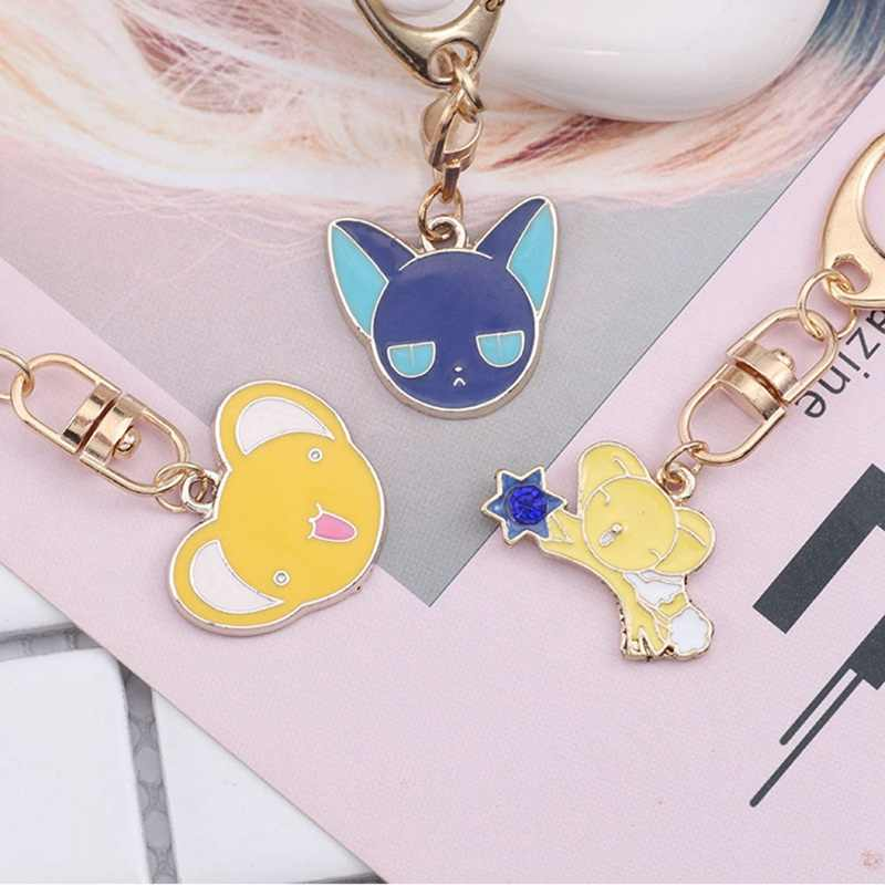 Anime Kartun Cat Mouse Gantungan Kunci Sailor Moon Star Tongkat Jantung Sayap Malaikat Liontin Gantungan Kunci untuk Anak Perempuan Wanita Perhiasan Yang Indah
