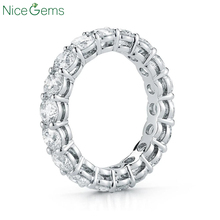 NiceGems 14K 585 White Gold Moissnite Eternity Band 3mm/3.5mm/4mm/5mm Round Brilliant MoissaniteWedding Ring wedding band
