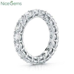 Image 1 - NiceGems 14K 585 or blanc Moissnite éternité bande 3mm/3.5mm/4mm/5mm rond brillant moissanitebague de mariage alliance