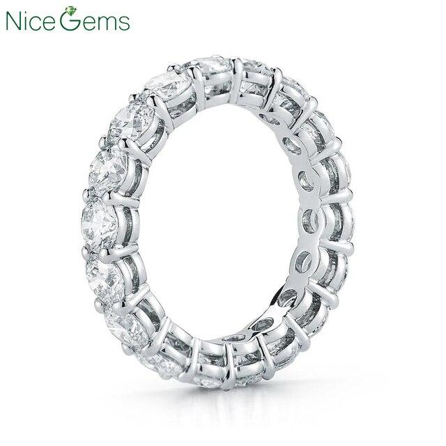 Круглый Муассанит NiceGems, свадебное кольцо из белого золота 585 пробы, 14 к, 3 мм/3,5 мм/4 мм/5 мм, обручальное кольцо
